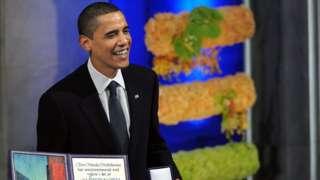Barack Obama receives the Nobel Prize in 2009