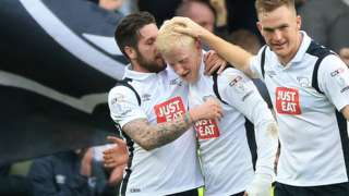 Derby players celebrate Will Hughes goal