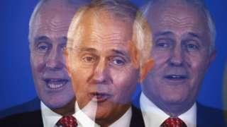 Malcolm Turnbull speaks during a press conference in 2016 in a shot that combines multiple exposures.