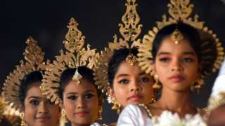 Sri Lankan twin dancers perform at the Sri Lanka twins event in Colombo on 20 January 2020.
