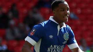 Rhys Brown scored Macclesfield's opening goal in their 3-2 FA Trophy final defeat by York City at Wembley in May