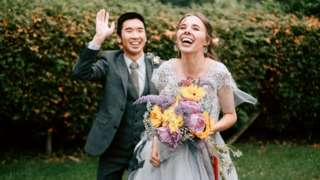 Elizabeth Facer and Ian Choi celebrate their marriage
