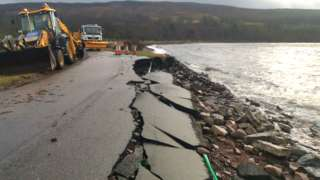 road collapse at Applecross Bay