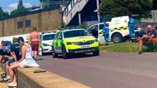 Emergency services at the beach in Chalkwell