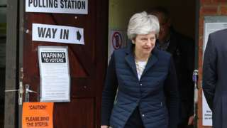 Prime Minister Theresa May leaves after casting her vote at a polling station near her home in the Thames Valley as voters headed to the polls for council and mayoral elections across England and Northern Ireland.