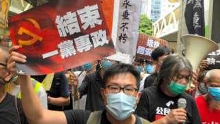 Manifestación en Hong Kong.