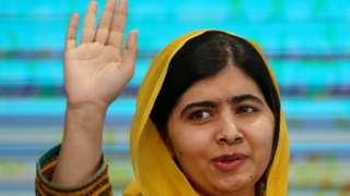 Malala waving