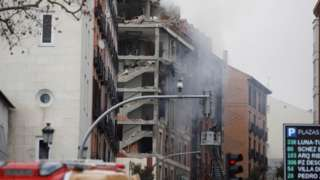 A view on destroyed building on Toledo street after a strong explosion caused the collapse of part of a building in Madrid
