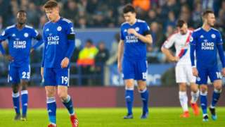 Leicester players looking disappointed
