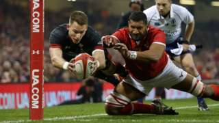 Liam Williams scoring on his 50th cap for Wales