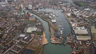 Ipswich waterfront with new tidal flood barrier