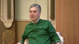 Turkmen President Gurbanguly Berdimuhamedov, in Lacoste tracksuit, lecturing officials