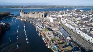 Aerial shot of Caernarfon