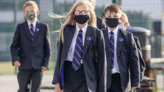Pupils wearing masks in school
