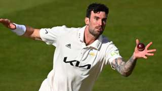 Reece Topley in action for Surrey