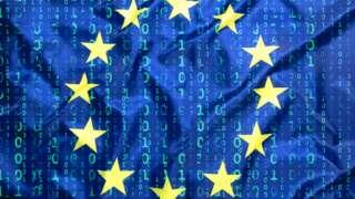EU flag and cyber