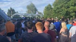 Crowds after Thorpe Park incident
