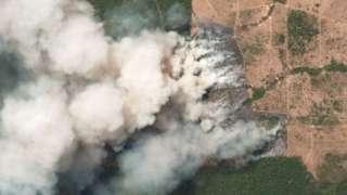 Satellite image of wildfires in Pará, Brazil