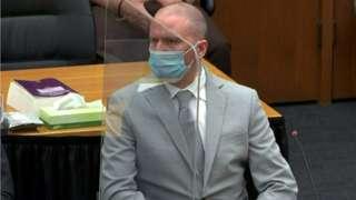 Derek Chauvin for court during di sentencing