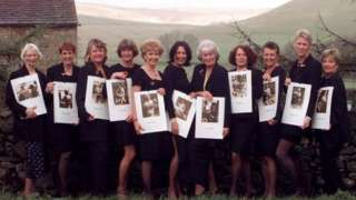 Members of the Women's Institute in Rylstone at the lauch of the calendar in 1999