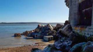 Collapsed Hurst Castle wall