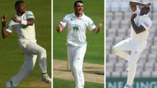 Fidel Edwards (left), Kyle Abbott and Keith Barker (right) shared 18 of the 20 Hampshire wickets between them in beating Notts