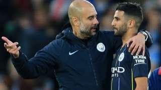 Pep Guardiola and Riyad Mahrez