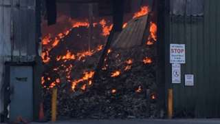 A fire in Nantycaws' recycling centre
