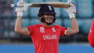 England's Katherine Brunt celebrates the moment of victory
