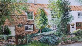 A painting of the front of Gaze Cottage.
