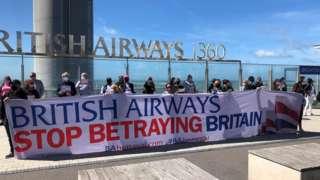 BA protest outside the i360