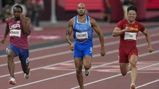 Lamont Marcell Jacobs and Bingtian Su during 100 meter for men at the Tokyo Olympics, Tokyo Olympic stadium, Tokyo, Japan on August 1, 2021.