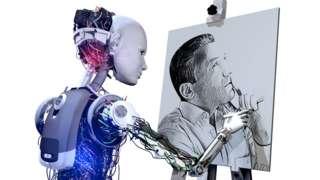 A robot creating a piece of art