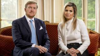 Dutch King Willem-Alexander (L) and Queen Maxima look on during the recording of a personal video message in which the king discusses the cancellation of their holiday to Greece, in The Hague, The Netherlands, 21 October 2020.