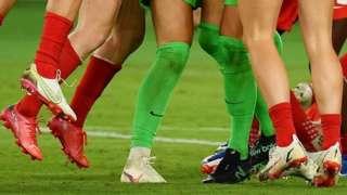 Legs of female footballers