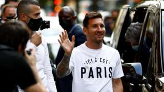 Lionel Messi outside his hotel in Paris