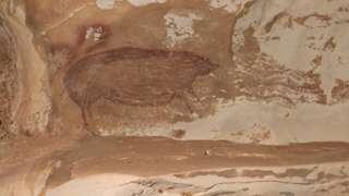 印尼岩洞中发现的史前图画——猪和手掌印