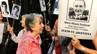 Mother of Hernán Abriata - Beatriz - with human rights campaigners in Buenos Aires, 11 Dec 19