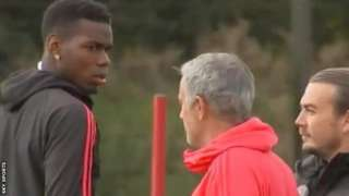 Paul Pogba and Jose Mourinho appeared to have a confrontation at Manchester United training on Wednesday