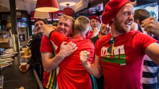 Wales fans in a pub