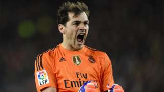 Iker Casillas celebrating while playing for Real Madrid