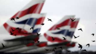British Airways planes with birds flying past
