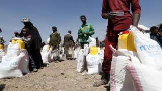 Camp for displaced people in Sanaa, Yemen, 1 March