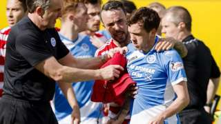 Danny Swanson was sent off for fighting with Richard Foster