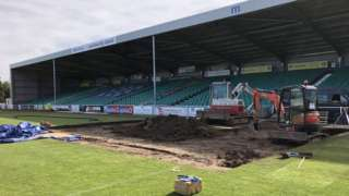 Eastleigh repair troubled section of Silverlake Stadium pitch