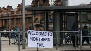 "A sign saying ""Welcome to Northern Fail"" at Manchester Piccadilly"