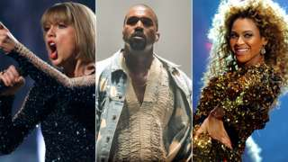 Taylor Swift, Beyonce and Kanye West