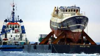 The trawler was towed to the French military port of Brest in July 2004