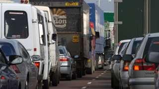 Traffic jam approaching the Tyne Bridge