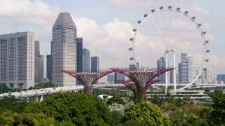 A skyline of Singapore